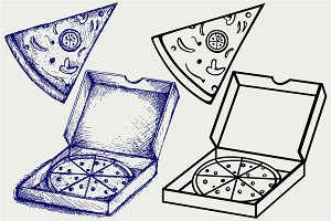Pizza in the opened cardboard box