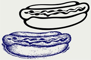 Old-fashioned hot dog SVG