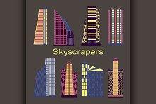 Skyscrapers icons set