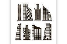 Skyscrapers icons set