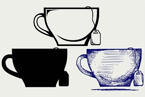 Tea bag and cup SVG