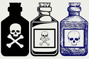 Glass bottles of poison SVG
