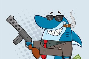 Smiling Shark Gangster Character