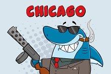 Shark Gangster Holding A Big Gun