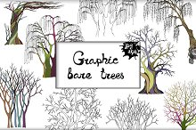 A set of 6 graphic bare trees