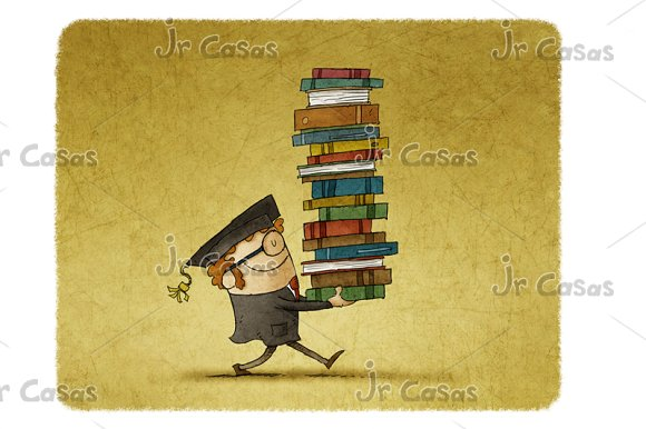 Graduate Carrying A Stack Of Books