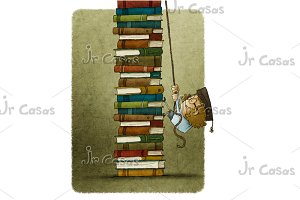climbing stack of books