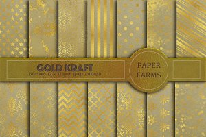 Gold kraft digital paper pack