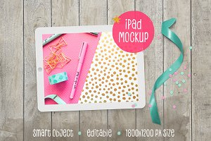 iPad™ Mockup with Ribbon & Confetti