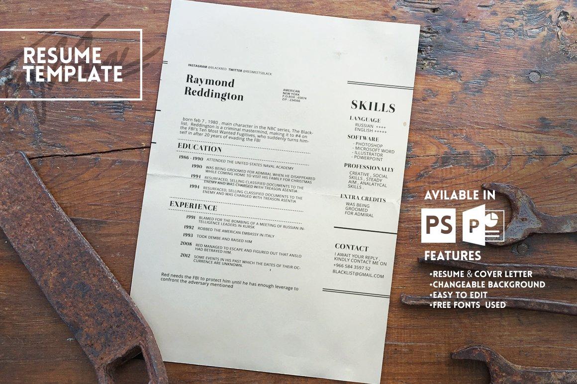 Blacklist Resume Template ~ Resume Templates ~ Creative Market