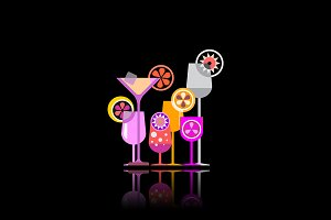 Cocktail glasses vector illustration
