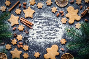 Christmas composition with cookies