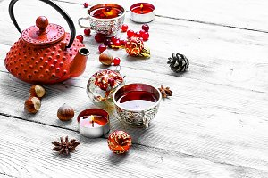 Christmas tea with berry cranberry