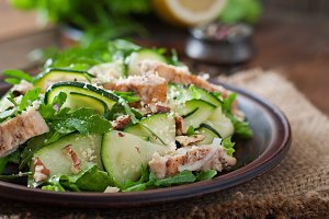 Salad with chicken and zucchini.