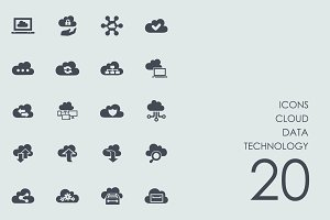 Cloud data technology icons