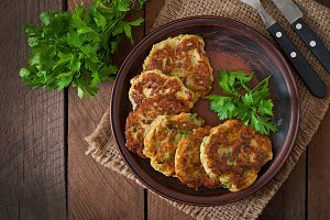 Zucchini pancakes with parsley