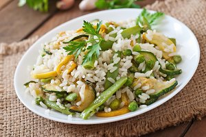 Risotto with asparagus beans