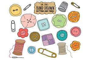 Vector Hand Drawn Buttons n' Things