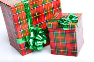 Color red with green gift boxes
