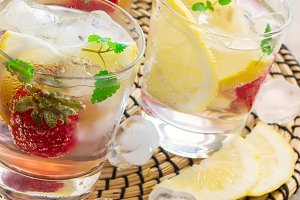 Lemonade in a glass with ice