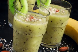 Healthy drink with kiwi and banana