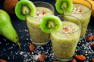 Healthy smoothie with kiwi and banana