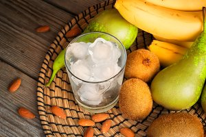 Ice and fruit for green smoothies