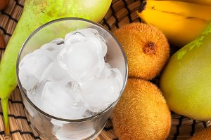 Ingredients for green smoothies: bananas, kiwi, pears and ice, t