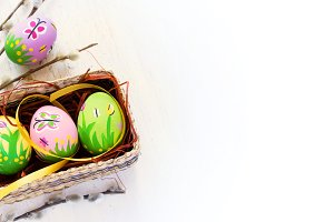 Easter background with colored eggs, handmade