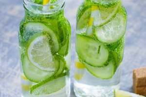 Lime cucumber lemonade with mint and brown sugar