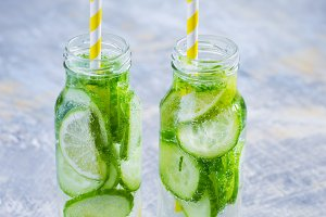 Cucumber, lime, mint lemonade in bottles, detox water