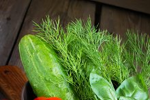 Fresh vegetables: cucumbers, tomatoes, basil and dill in a bowl