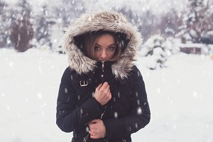 woman in winter standing outdoor