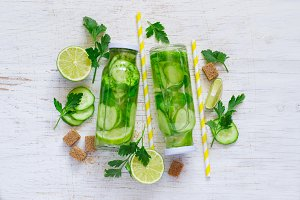 Cucumber Lime lemonade, detox water, top view