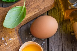 Ingredients for mayonnaise sauce: eggs, olive oil, spices
