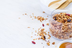 healthy breakfast. Granola on white background, space for text