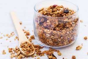 healthy breakfast. Freshly Granola on white background close-up,