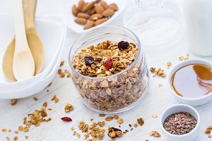 healthy breakfast. Fresh granola with dried berries and nuts on