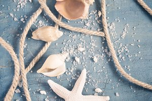 Seashells, starfish and rope on a blue background, top view, tin