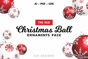 Christmas Ball Ornaments Pack - Red