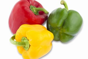 Different colored peppers. Isolated