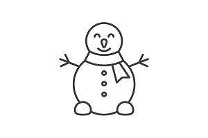 Snowman linear icon. Vector