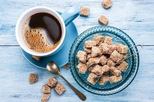 coffee and cane sugar cubes