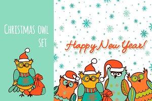 Christmas owl . funny set :)