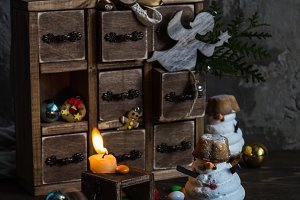 Handmade wooden box,candy, candle and Christmas decoration .
