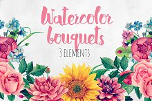 Watercolor floral bouquet clip art