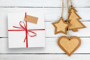Gift box and Christmas decorations