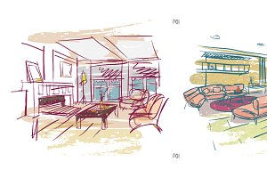 Lively and fast interior sketches #1