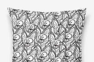 seamless pattern with doodle cats