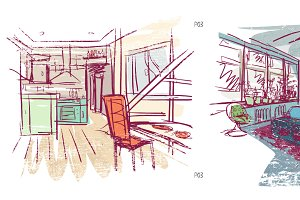 Quick hand drawn interior sketches 3